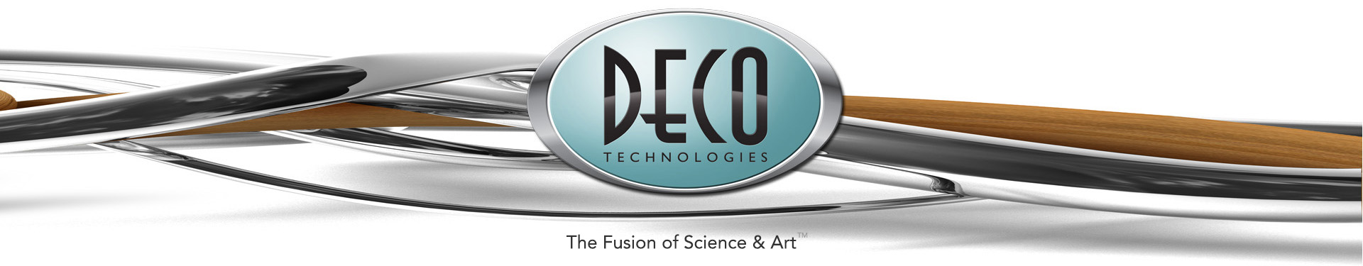 DECO Technologies Logo over twisted wood and chrome.